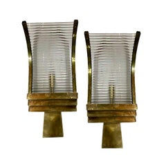 Set of 4 Art Deco Glass-Rod Sconces, Sold in Pairs