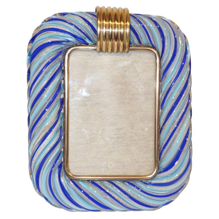Venini Vintage Italian Gold and Blue Filigrana Crystal Murano Glass Photo Frame