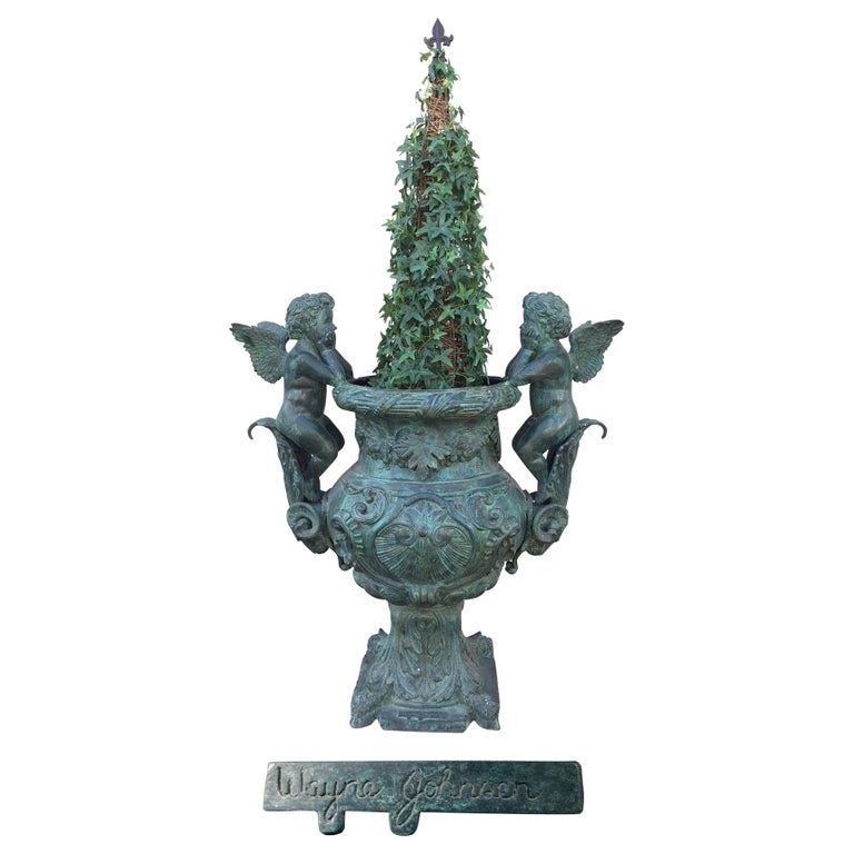 Signed French Bronze Urn with Cherubs