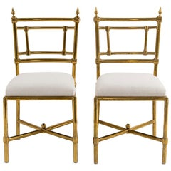 Set of Six Italian Brass Dining Chairs, 1970s