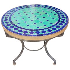 Blue And Turquoise Moroccan Mosaic Side Table = Mar 2