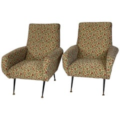 Pair of Italian Mid-Century Modern Lounge Chairs with Metal Legs