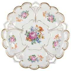 Antique German Hand Painted and Gilt Floral Charger by Henneberg-Porzellan