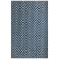 'Chevron' Contemporary, Traditional Wallpaper in Ink Blue