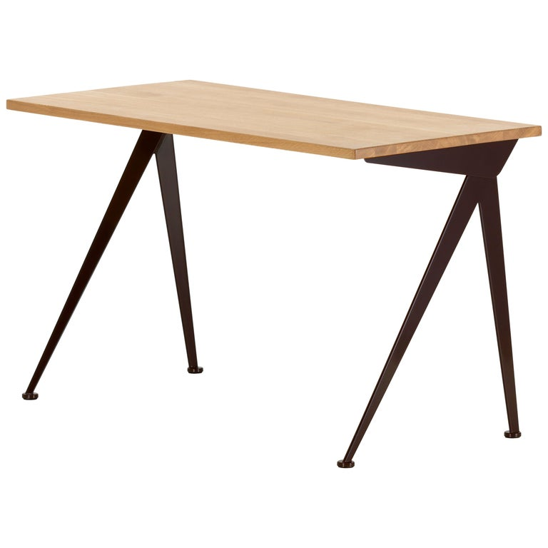 Jean Prouvé Compas Direction Desk in Natural Oak and Brown Metal for Vitra