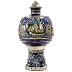 Mexican Caste System Jar, Ceramic and White Metal 'Alpaca', Handmade