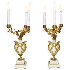 Pair of French 19th Century Marble and Ormolu Mounted Candelabra Lamps