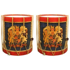 Hollywood Regency Style Regimental British Drum Side Tables