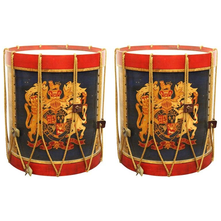 Hollywood Regency Style Regimental British Drum Side Tables