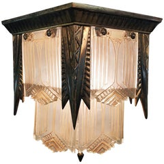 Art Deco Flush Mount Molded Glass Panel Hall Lantern