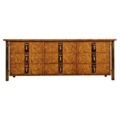Hollywood Regency Burl Wood and Brass Mastercraft Dresser Credenza