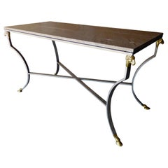 Steel & Bronze Console Table Attributed to Maison Jansen
