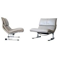Pair of Giovanni Offredi Onda Leather Lounge Chairs for Saporiti Italia