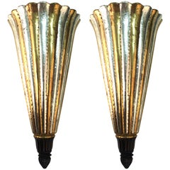 Art Deco Plume Sconces in Wood and Metal
