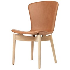 Shell Dining Chair Matt Lacquered Oak Frame Ultra Brandy Leather by Mater Design