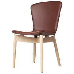 Shell Dining Chair Matt Lacquered Oak Frame Ultra Cognac Leather by Mater Design