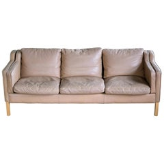 Classic Danish Midcentury Sofa in Tan Leather in the Style of Børge Mogensen
