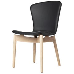 Shell Dining Chair Matt Lacquered Oak Frame Ultra Black Leather by Mater Design