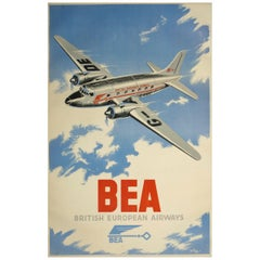 Original 1940s British European Airways poster by Le Puy