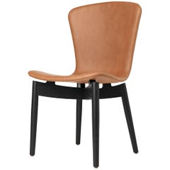 Shell Dining Chair Black Stained Oak Frame Ultra Brandy Leather by Mater Design