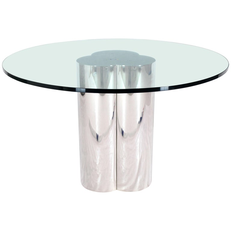 Triple Chrome Cylinder Base Glass Top Round Center Dining Conference Table