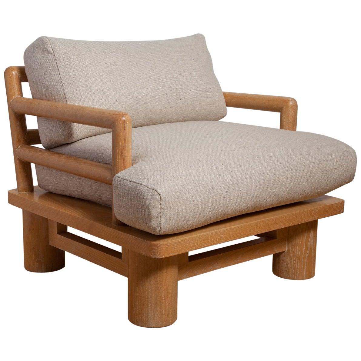 Pair of Karl Springer Cerused Oak Dowelwood Chairs