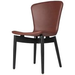 Shell Dining Chair Black Stained Oak Frame Ultra Cognac Leather by Mater Design