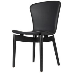 Shell Dining Chair Black Stained Oak Frame Ultra Black Leather by Mater Design