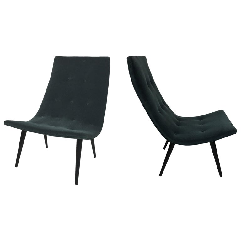 Pair of Thin Line Velvet Scoop Chairs For Sale