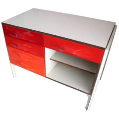 Midcentury Raymond Loewy DF2000 Writing Desk or Cabinet in Red ABS