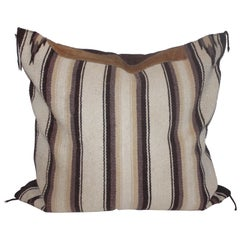 Navajo Indian Weaving Saddle Blanket Pillow with Leather Trim