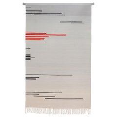 Red Shift '1' Kilim Tapestry or Rug, Handmade Brooklyn, NY USA