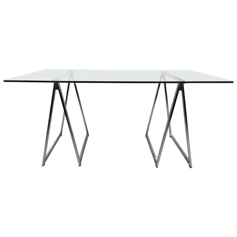 Chrome Sawhorse Trestle Table by Milo Baughman for Thayer Coggin For Sale