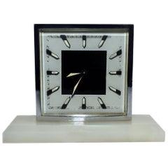 Art Deco Modernist 1930s Alarm Clock in Chrome and Oynx