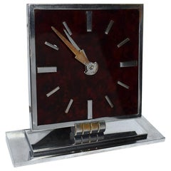 Art Deco Modernist 1930s Chrome and Bakelite Clock