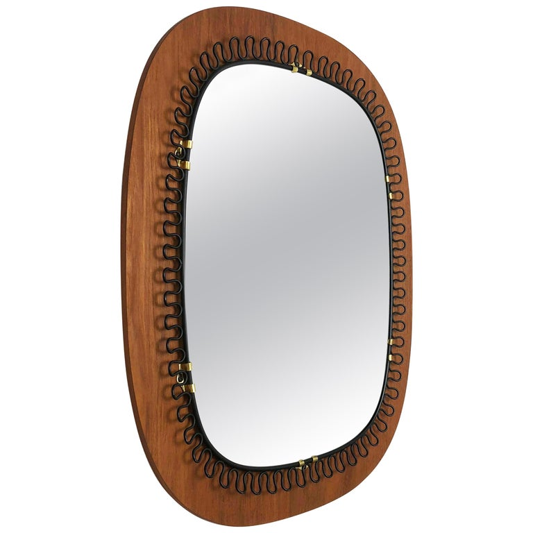 1960s Metal and Teak Mirror Designed by Josef Frank for Svenskt Tenn, Sweden