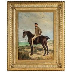 Belgium School Oil on Panel Horseman on Horseback Monogrammed and Dated 1877