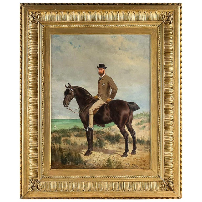 Belgium School Oil on Panel Horseman on Horseback Monogrammed and Dated 1877 For Sale