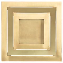 Gabriella Crespi Square Brushed and Polished Brass Picture Frame, Italy, 1973