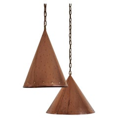 Cone Shaped Handcrafted Copper Pendants from Denmark, 1970s