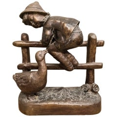 S 19th Century Bronze French School Figure of Child Playing with Goose