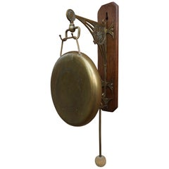 Rare Early 20th Century Brass & Oak Arts & Crafts House Gong for Wall Mounting