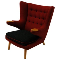 Red and Massive Wingback Armchair from Scandinavian, circa 1950s