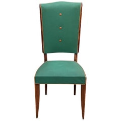 Set of 6 Époque Art Deco Chairs, Stained Beech and Faux Leather