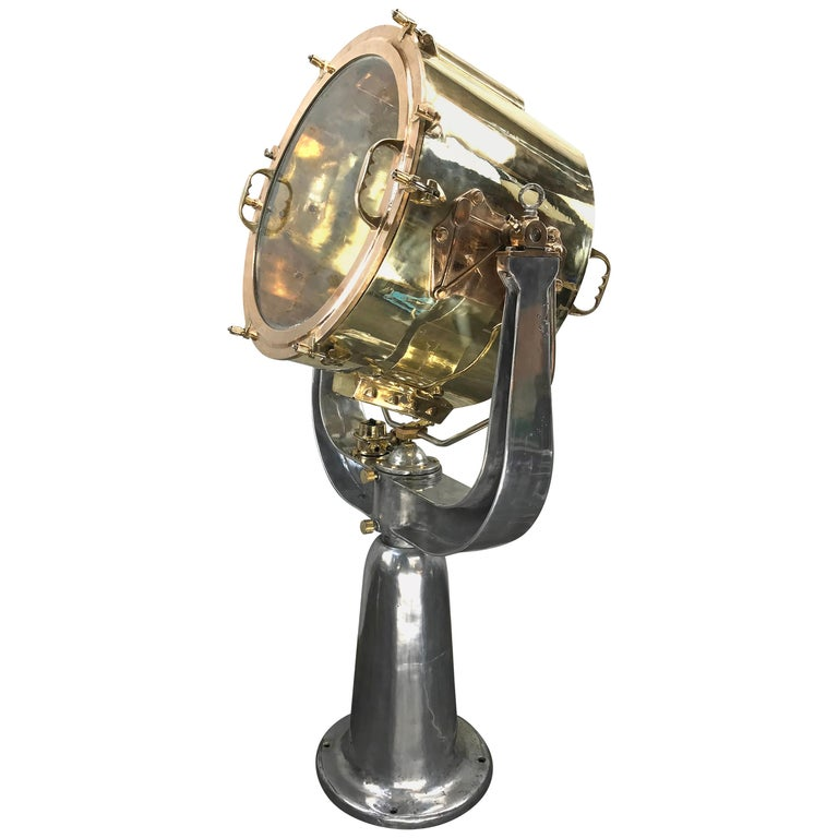 1940s Rotherham's British Brass, Bronze and Aluminium Maritime Searchlight For Sale