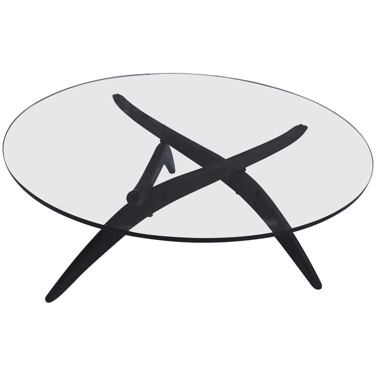 Adrian Pearsall Round Glass and Walnut Spider Leg Coffee Cocktail Tripod Table