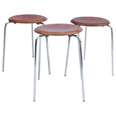 Set of Three Dot Stools, Model 3170 by Arne Jacobsen and Fritz Hansen, 1974