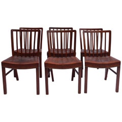 Set of 6 Dining Chairs in Light Mahogany by Fritz Hansen, 1940s
