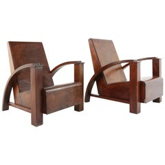 French Modernist Colonial Lounge Chairs in Mahogany, circa 1940s