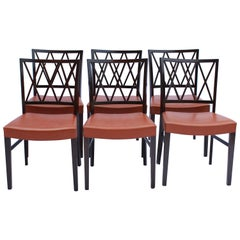 Set of 6 Dining Chairs in Dark Mahogany by Ole Wanscher, 1960s